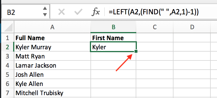 place cursor in bottom right corner of excel cell to see + symbol