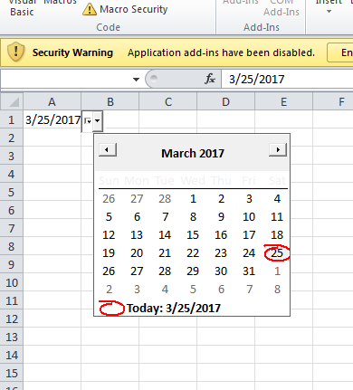 How to add a DatePicker (Calendar) to Excel Cells 1