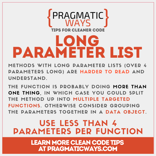 Long Parameter Lists almost always are considered a code smell